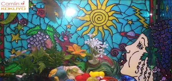 The diy glass painted fishy aquarium for Fish tank paint