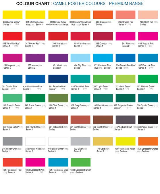 12 shade poster colours premium poster colours kokucamlin Shades of orange colour chart